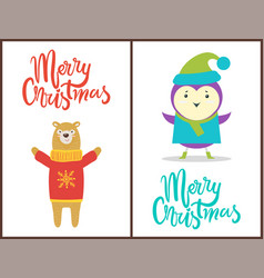 merry christmas congratulation with happy animals vector image