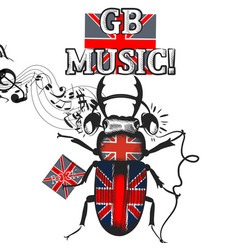 music flayer with beetle colored in british flag vector image
