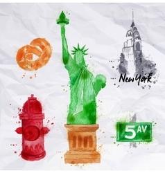 New York symbols crumled paper vector