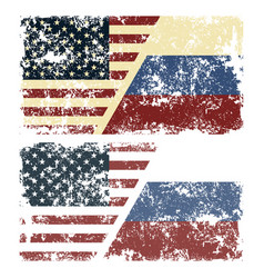 Old scratched flags of usa vector