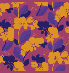 orchid seamless pattern in bright retro 60s colors vector image