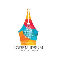 pen nib and bulb logo idea vector image