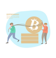 people and bitcoin coins vector image