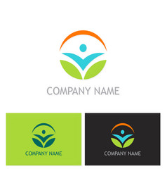 people ecology leaf logo vector image