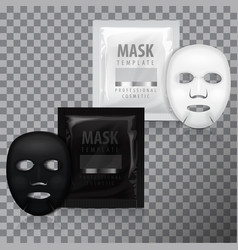 realistic facial sheet mask and sachet vector image