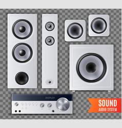 realistic sound audio system transparent icon set vector image
