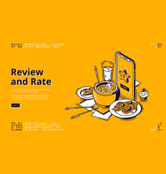 restaurant rate customer review isometric banner vector image