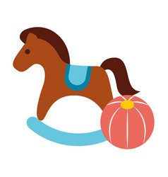 rocking horse and plastic ball toys vector image
