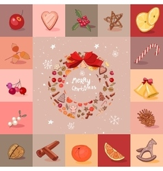 Round festive wreath with fruits cookies berries vector