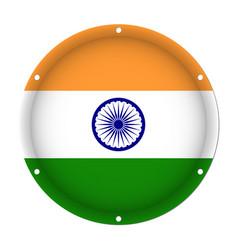 round metallic flag of india with screw holes vector image