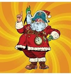 Santa Claus pirate penguin pointing gesture vector image