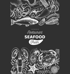 seafood shop hand drawn banner template retro vector image