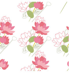 seamless floral pattern with lotus flowers vector image