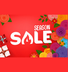 season sale offer shopping banner template with vector image