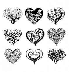 Set 9 tattoo hearts vector