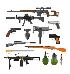 set army combat weapons icons isolated vector image