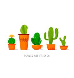 Set five cute cartoon cactus vector