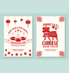 set happy chinese new year 2020 poster flyer vector image