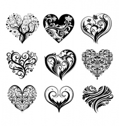 set of 9 tattoo hearts vector image