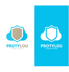 shield and cloud logo combination vector image