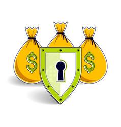 Shield over 3 money bags financial security vector