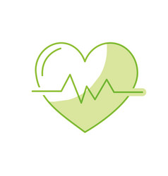 Silhouette heartbeat to know rhythm cardic and vector