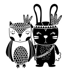 silhouette owl and rabbit animals with feathers vector image