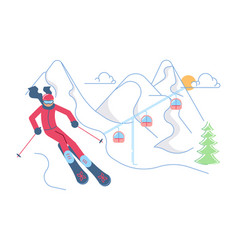 Skier on winter mountain landscape vector