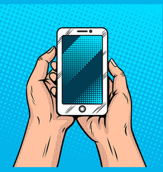 Smart phone in hands comic book style vector