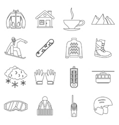 Snowboarding icons set outline style vector image