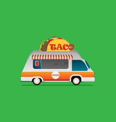street food van fast food delivery flat design vector image