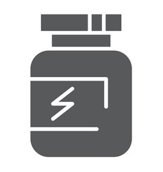 Supplement glyph icon protein and container vector