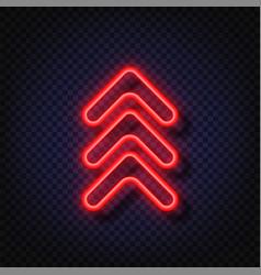 Swipe up neon sign glowing neon arrow pointer vector