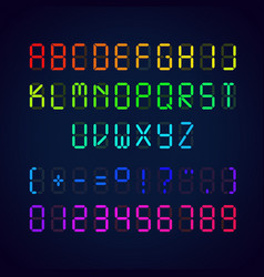 Template colorful digital glowing font vector