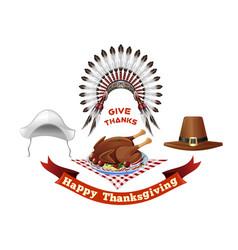 Thanksgiving day symbols set vector
