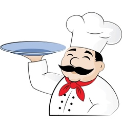 The chef with an empty dish in an arm vector image