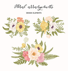 Three compositions with flowers vector