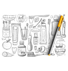 Tooth hygiene and health doodle set vector