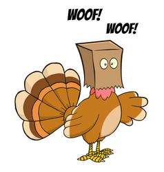 turkey bird hiding under a bag barks vector image