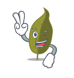 Two finger bay leaf character cartoon vector