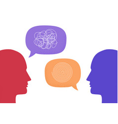 two human heads silhouette talking through speech vector image
