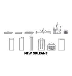 United states new orleans line travel skyline set vector