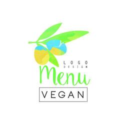 vegan menu logo design element for vegetarian vector image