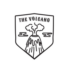 vintage volcano emblem adventure badge vector image