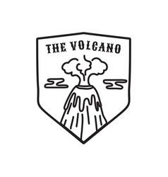 Vintage volcano emblem adventure badge vector