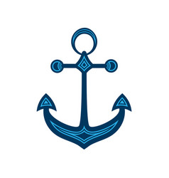 water anchor with geometric pattern logo vector image