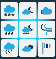 Weather colored icons set collection of wind vector