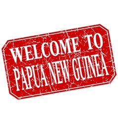 Welcome to Papua New Guinea red square grunge vector