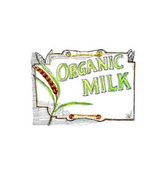 Wheat Organic Milk Label Retro vector