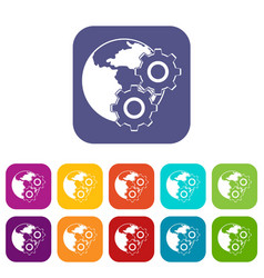 World planet and gears icons set flat vector